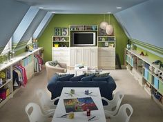 Classy playroom: Create different areas of the room -- TV/couch for lounging, craft table for games and creativity, and tons of storage lining the walls. LOVE the closet bars for hanging dress-up clothes.
