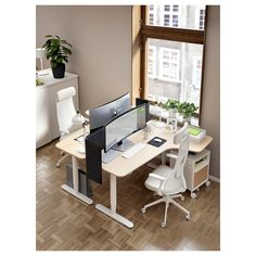 IKEA - BEKANT, Corner desk right sit/stand, white stained oak veneer white, Limited Warranty. Read about the terms in the Limited Warranty brochure. Home Office Layouts, Home Office Space, Home Office Design, Home Office Decor, Home Decor, Small Office Decor, Ikea Office, Office Desk, Office Chairs