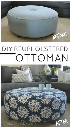 Update an old ottoman with a new and fun fabric.  This tutorial shows that even when you don't know what you are doing you can pull off a beautiful look.