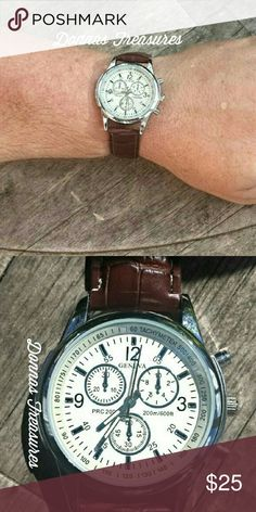 "Mens Watch With Vegan Leather Band This watch measures 9"" long. The face measures 1.5"" from side to & 1.5"" from top to bottom. The back is Stainless Steel & the band is Vegan Leather. The small dials & end buttons are just for show.      #0750-1 Accessories Watches"