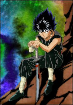 Rainbows backdrop - because Hiei doesn't care.