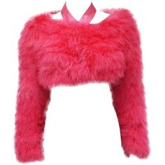 Preowned Tom Ford For Gucci Hot Pink Marabou Bolero C. 2004 (€3.140) ❤ liked on Polyvore featuring tops, sweaters, crop top, fur, long sleeved, pink, red cropped sweater, red sweater, red halter top and long sleeve crop top