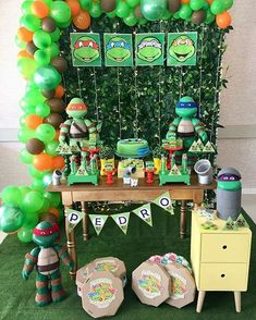 80 ideas para fiesta de las tortugas ninjas 80 ideas for ninja turtles party Turtle Birthday Parties, Ninja Turtle Birthday, Ninja Turtle Party, Carnival Birthday Parties, Birthday Decorations, Ninja Turtle Snacks, Ninja Turtles, 5th Birthday, Birthday Cakes