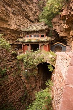 Fuqing Temple, China - There are multiple buildings built into rock walls in China and I want to go to all of them.