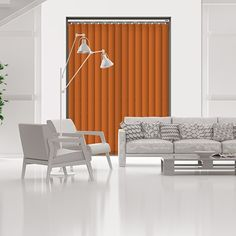 Controliss Liso Tangerine 240V AC mains RTS remote control electric vertical blind. #blinds #verticalblind #lisotangerineblind #controlissblinds