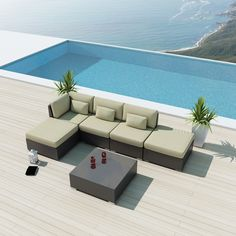 "$1,428.00 Sunbrella fabric . cover is $219 , six week delivery Uduka Porto 6 Outdoor Sectional Patio Furniture Sofa Set Sofa Set 10ft 9/12"" w"