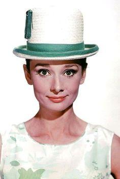 Audrey Hepburn, love her hat, great photo of her