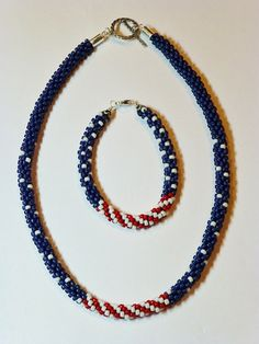 American Patriotic Kumihimo Necklace & Bracelet by GrnEydDesigns, $13.50