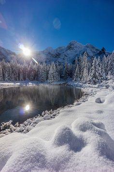 winter, snow, sea eye, kill pond, Mięguszowiecka peaks, Zakopane Poland