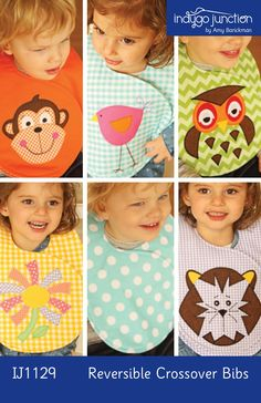 Reversible Crossover Bibs By Barickman, Amy  - Keep your little ones clean with this classic double-sided bib that wraps around the neck and velcros in front. Keep things simple by making a bib in two fun prints, or add an applique design. Choose from a monkey, bird, owl, tiger or flower to add some whimsy! Size: 6 months - 2T