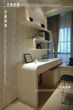 时尚弧形钢琴烤漆电脑桌 创意书桌一体柜-淘宝网