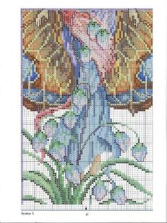 Fantasy Cross Stitch, Cross Stitch Fairy, Cross Stitch Angels, Butterfly Cross Stitch, Cross Stitching, Cross Stitch Embroidery, Cross Stitch Patterns, Fantasy Figures, Elves And Fairies