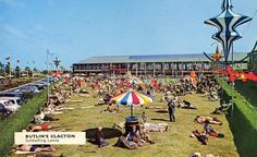 An exercise in clever marketing - the Sunbathing Lawns at Butlin's Clacton Holiday Camp Note the encroachment of the passenger car, around which holiday camps had not been designed. 1960s Britain, Butlins Holidays, British Holidays, Seaside Holidays, Holiday Day, England Uk, Vintage Holiday, Best Vacations, Old Pictures
