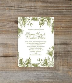 Printable/digital rustic woodland green forest wedding invitation; These would look great printed on our eco-friendly cardstock; a great Etsy collaboration!