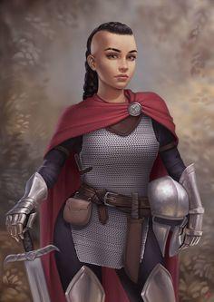 Kroma - DSA-Ritterin-/Kriegerin by JuneJenssen on DeviantArt Inspiration Drawing, Fantasy Inspiration, Character Inspiration, Female Armor, Female Knight, D D Characters, Fantasy Characters, Warcraft Characters, Fantasy Figures