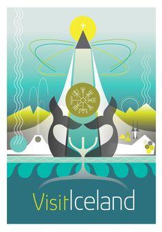 Visit Iceland Poster  Large Digital print. 297 x by GraffikHeart, $19.00