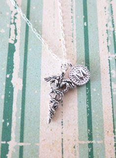 Personalised Caduceus necklace - Sterling silver necklace, Medical Nurse Doctor Caduceus Necklace, Letter initial Jewelry, www.glitzandlove.com