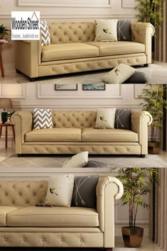 Posh, Elegant and Divine looking #fabricsofa ~ 3-seater #couch. Coming to the #design, the couch has a #Chesterfield #architecture, with the armrest and the backrest having the same height and the corners are curved to form a continuation. The too edges of both these structures have winged back, making the couch look marvelous.