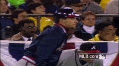 John Smoltz, in a jacket, stealing second base in a postseason game. Baseball Tickets, Braves Baseball, Baseball Cards, Cracker Jacks, Atlanta Braves, Major League, Peanuts, Mlb, Athlete