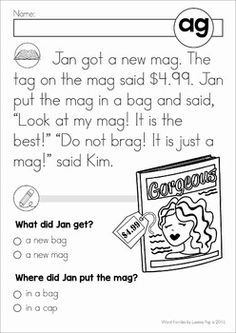 AG word family reading passage with comprehension questions. Phonics Reading, Reading Comprehension Worksheets, Comprehension Questions, Kindergarten Reading, Teaching Reading, Phonics Worksheets, Reading Activities, Reading Words, Reading Practice