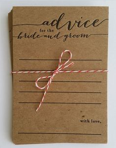 Letterpress bridal shower game, rustic, country, advice for the bride and groom