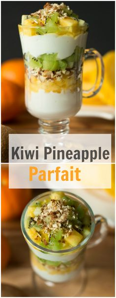 This is a delicious and healthy Kiwi Pineapple Parfait. You will need only 6 ingredients to make this dessert perfect for summer. Parfait Desserts, Fruit Parfait, Parfait Recipes, Yogurt Parfait, Kiwi Recipes, Healthy Desserts, Healthy Recipes, Vegetarian Recipes, Breakfast Recipes