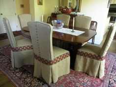 Custom Slipcovers for dining room chairs by Kathleen Mullaney