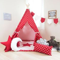 Red White Polka Teepee - Kids Teepee, Tipi, High Quality Kids Tent, Handmade in the USA, Additional Pillows and Mat to Match Kids Tents, Teepee Kids, Toddler Teepee, Childrens Teepee, Teepee Play Tent, Cozy Place, Kid Spaces, Window Coverings, Red And White