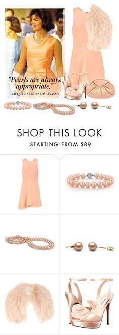"""jackie kennedy 'pearls'"" by aries-indonesia ❤ liked on Polyvore featuring Halston Heritage, Nina and Judith Leiber"