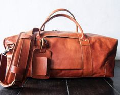 leather weekend bag, leather overnight, weekender, leather bag, message bag, duffel bag, leather holdall, Vegetable tanned leather  Handmade