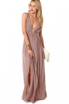 Love this: Tie Back Maxi Dress in Taupe @Lyst