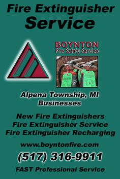 Fire Extinguisher Service Alpena Township, MI (517) 316-9911 Local Michigan Businesses Discover the Complete Fire Protection Source.  We're Boynton Fire Safety Service.. Call us today!