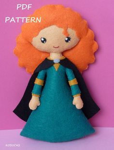 PDF sewing pattern to make a felt doll inspired in by Kosucas