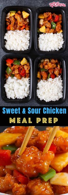 Sweet and Sour Chicken Meal Prep - TipBuzz This Sweet and Sour Chicken Meal Prep features crispy chicken, bell peppers, onions and pineapple in a sweet and sour sauce. It only takes 20 minutes to make irresistible lunches and dinners for the entire week! Meal Prep For Work, Work Meals, Lunch Meal Prep, Meal Prep Bowls, Meal Prep For The Week, Dinner For The Week, Meal Prep Dinner Ideas, Week Lunch Prep, Meal Prep Keto