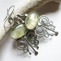 Sterling Silver Prehnite Earrings Green Gemstone Jewelry Metalsmith Artisan Earrings Mayan Inspired Butterfly Earrings One Of A Kind