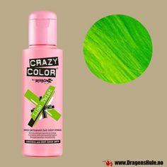En klemmeflaske med 100ml semi-permanent hårfargekrem av merket Crazy Color. Røres/rystes godt før bruk. Semi-permanent betyr at fargen vaskes gradvis ut i løpet av noen ukers tid.Vær oppmerksom på at slik farge er annerledes enn det du får kjøpt f.eks. i dagligvarebutikker. FØR du farger noe som helst: Les om hvordan slike hårfarger skal brukes.Felles for all semi-permanent hårfarge er at resultatet vil variere ganske mye etter hvilken farge håret du har det i er fra før, ogs�...