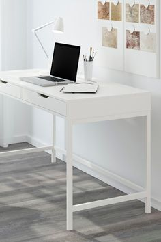 The IKEA ALEX desk features built-in cable management for collecting cables and cords out of sight but close at hand. Drawer stops prevent the drawers from being pulled out too far - and the desk can be placed anywhere in the room because the back is finished!