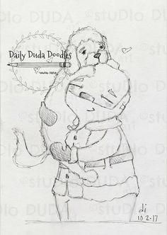 Daily Duda Doodles - #19 Dogs Love Santa - Original Pencil Sketch by Diane Duda