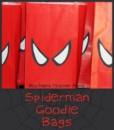 Spiderman Goodie Bags Materials empty cardboard box scissors glue black and white poster board (or other paper) red paper bags Directions After gathering the above materials, find a Spiderman mask … - Visit to grab an amazing super hero shirt now on sale! Superhero Birthday Party, 6th Birthday Parties, Birthday Party Decorations, Boy Birthday, Spiderman Birthday Ideas, Spiderman Theme Party, Superman Birthday, Batman Party, Cumple Toy Story