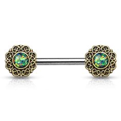 Green Opal Glitter Tribal Heart Filigree Nipple Rings  Surgical Steel Nipple Barbells