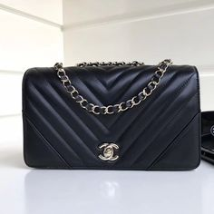 f6986d69bbba Chanel Calfskin Chevron Statement Medium Flap Bag A91588 Black 2017