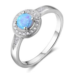 925 Sterling Silver Rings For Women Round Blue Opal Engagement Rings Wedding Bands Elegant Silver Jewelry Gifts Sterling Silver Opal Ring, Blue Opal Ring, Opal Rings, Gemstone Rings, White Sapphire, Wedding Rings For Women, Wedding Ring Bands, Opal Jewelry, Silver Jewelry