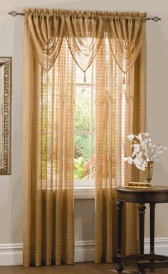 Lexington semi sheers feature a windowpane design with metallic thread accents. #Sheer #Curtains