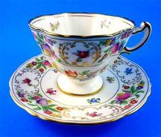 Stunning Floral Dresden Sprays Hammersley Tea Cup and Saucer Set