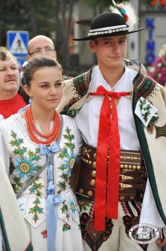 Bridesmaid and groomsman: traditional wedding in the town of Zakopane, region of Podhale, Poland