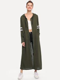 Stripe Contrast Longline Hooded Coat | SHEIN