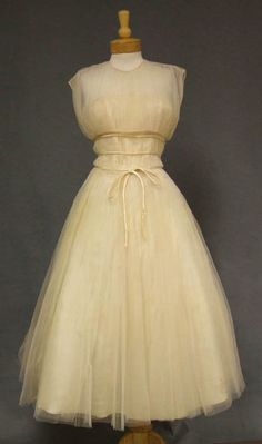 STUNNING Gathered Cream Tulle 1950s Dress w/ Satin Trim & Matching Topper VINTAGEOUS VINTAGE CLOTHING