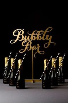 """Bachelorette party idea - """"Bubbly bar"""" with mini bottles of champagne + black and white straws {Courtesy of Etsy} Great Gatsby Party, 20s Party, Gatsby Wedding, Gold Wedding, Wedding Table, Wedding Ideas, Wedding Decorations, New Years Party, New Years Eve"""