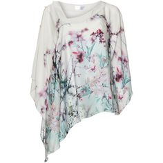 Kirsten Krog Ivory-White / Mint Plus Size Cherry blossom print tunic ($270) ❤ liked on Polyvore featuring tops, tunics, plus size, floral tunic, loose tunic, summer tops, floral print top and white tunic