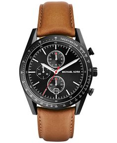 Michael Kors Men's Chronograph Accelerator Luggage Leather Strap Watch 42mm MK8385